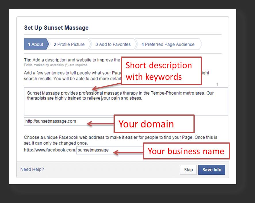 Massage Social Media Accounts: Facebook Description