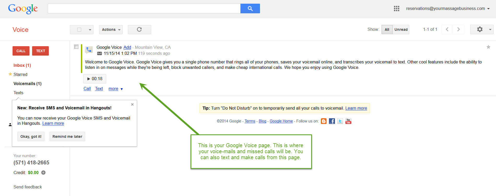 Set Up Google Voice For Your Massage Business: Google Voice Page