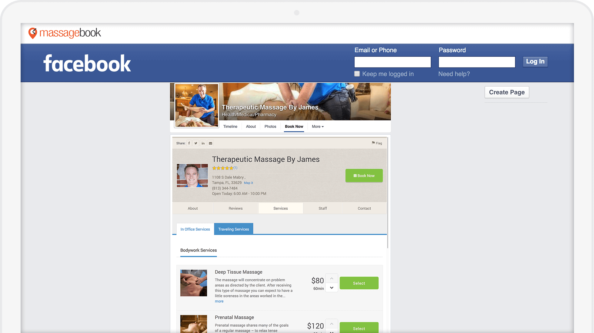 Best Massage Business Tools: MassageBook gives your clients the ability to book on facebook.