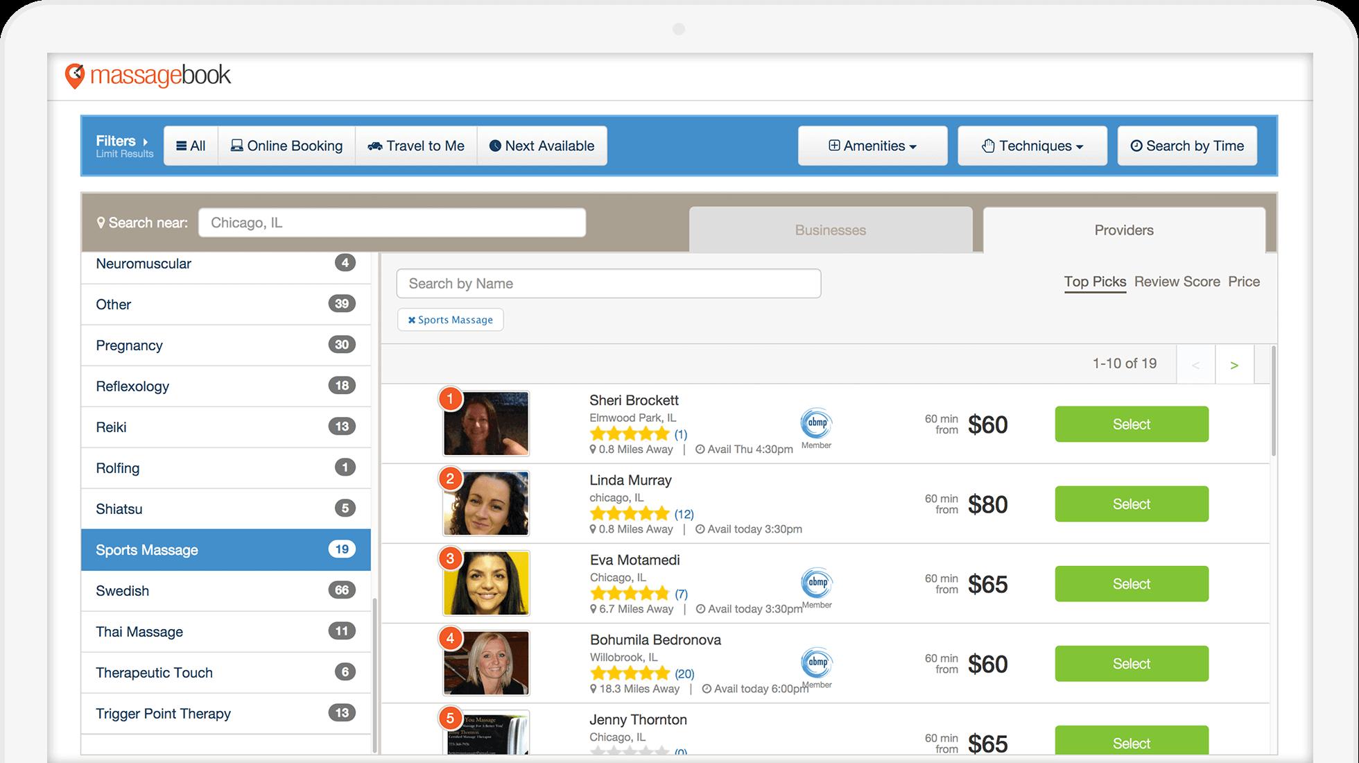 Best Massage Business Tools: MassageBook has a free online website listing.