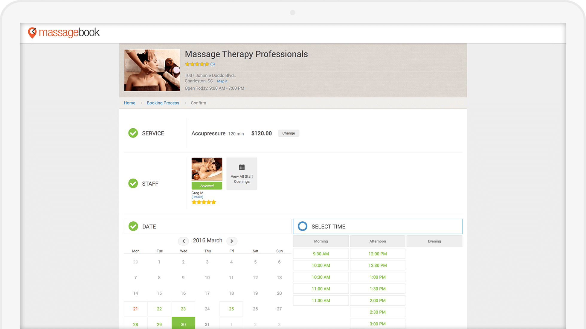 Best Massage Business Tools: MassageBook has a great online booking experience.
