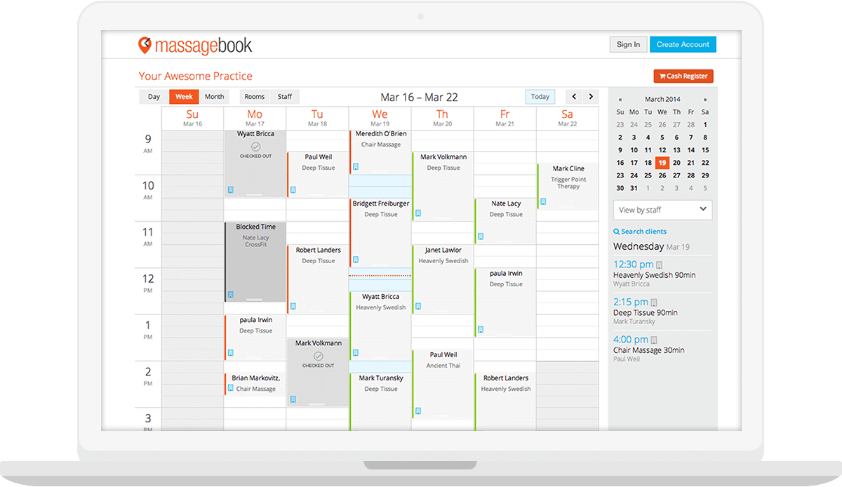 Best Massage Business Tools: MassageBook has easy to use scheduling software.