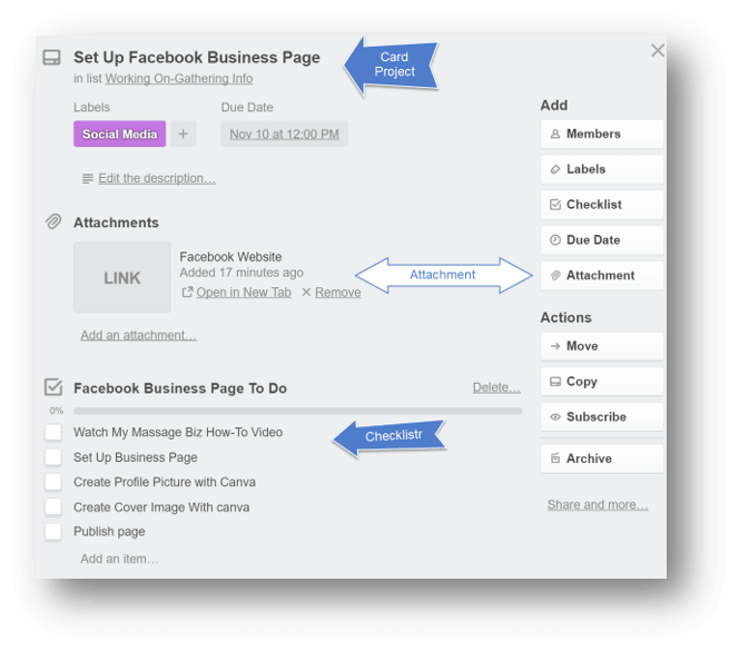 Best Massage Business Tools: Trello lets you attach files and create checklists.