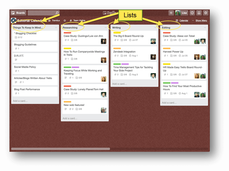 Best Massage Business Tools: Trello lists help you break things down into manageable chunks.