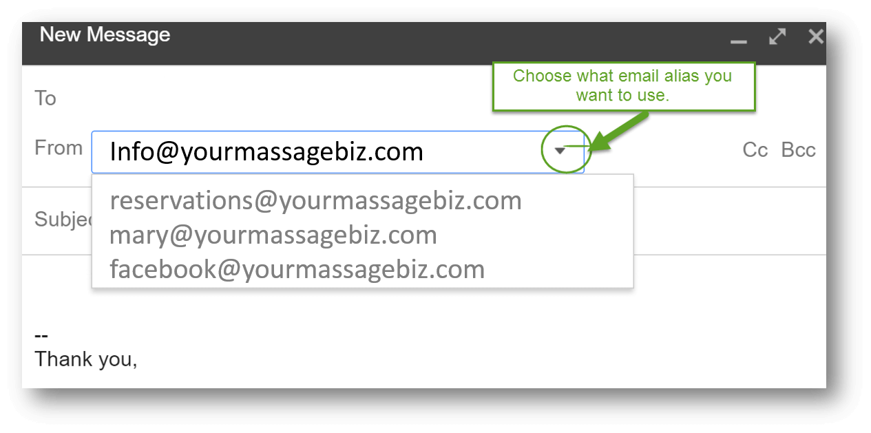 Best Massage Business Tools: G Suite lets you use multiple email aliases for your business.